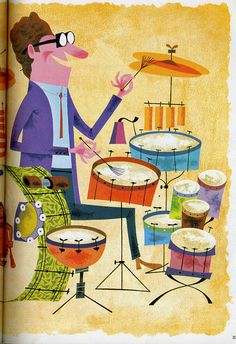 "Illustration by Paul Hartley, 1958 for ""Walt Disney's Big Book"". Retro Kunst, Retro Art, Children's Book Illustration, Graphic Design Illustration, Walt Disney, Drums Art, Vintage Drums, Jazz Art, My Sun And Stars"