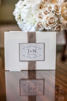Wedding Invitations -- from Write Impressions http://www.WriteImpressions-mi.com. See more of this burlap + bling inspired #smp wedding: http://www.StyleMePretty.com/2014/05/09/traditional-elegance-at-the-royal-park-hotel/ Photography: TheShootingGallery.com