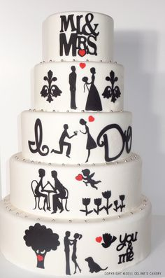 the wedding cake tells their love story. so cute.