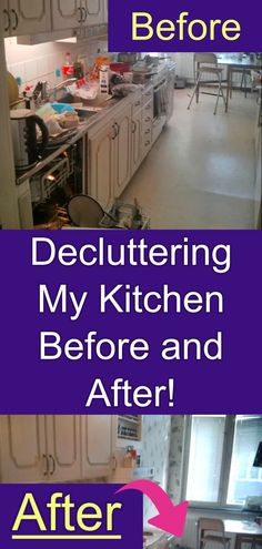 Decluttering My Kitchen - Before and After Decrapifying. Lots of helpful home organization hacks to organize YOUR kitchen clutter Tidy Kitchen, Hidden Kitchen, Kitchen Items, Home Organization Hacks, Organizing, Getting Organized At Home, Clutter Solutions, Declutter Your Home, Decluttering