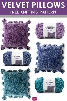 Along to make this Velvet Knit Pillow Pattern. Knit Velvet Pillows with the new Bernat Velvet Yarn. Get free knitting pattern and video tutorial.Knit Velvet Pillows with the new Bernat Velvet Yarn. Get free knitting pattern and video tutorial. Crochet Pillow Patterns Free, Knitting Patterns Free, Free Knitting, Stitch Patterns, Bamboo Knitting Needles, Loom Knitting, Crochet Cushions, Knit Or Crochet, Yarn Projects