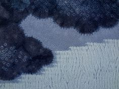 Shibori Landscape Kimono, Dyed Using Fresh-Leaf Indigo | Detail of upper, back section, focusing on the multiple layers of color and technique–stitched mokume (wood grain), stitched outlines (nui), and kanoko (deer spot) | John's Attic