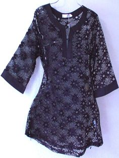 Black LACE Peasant Boho Tunic Swimsuit Cover-Up Blouse Top
