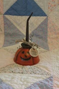 Happy Jack Vintage Painted Oil Can Pumpkin by UpAndreasAlley, I wonder if Gary would let me do this with some of his old ones up in the shop Holidays Halloween, Halloween Crafts, Halloween Decorations, Halloween Stuff, Homemade Halloween, Homemade Crafts, Halloween Projects, Halloween Pumpkins, Halloween Ideas