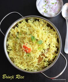 """Brinji Rice, a delicious and flavorful one pot rice made with coconut milk. In tamil, bay leaf is known as """"Brinji Elai"""", as this rice use bay leaf as one of the flavoring spice, it got its name as """"Brinji Rice"""". Sicilian Recipes, Indian Food Recipes, Vegetarian Recipes, Ethnic Recipes, Sweets Recipes, Healthy Recipes, Desserts, Coconut Milk Rice, Coconut Milk Recipes"""