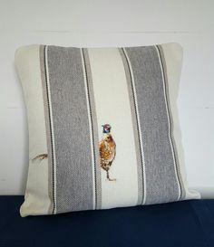 The Peeping Pheasant.   An 18 inch cushion for a client. Can be recreated.