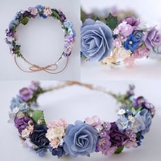 handmade crown Pink Purple Pale Blue deep blue and white Color Diy Flower Crown, Diy Crown, Flower Crown Wedding, Wedding Headband, Bridal Crown, Bridal Flowers, Floral Crown, Flower Crowns, Flower Headbands