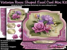 Victorian Roses Shaped Easel Card Mini Kit