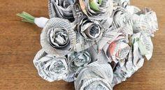 Bouquet de flores de jornal pode enfeitar a sua casa ou ser o seu bouquet de noiva. Além de manter a