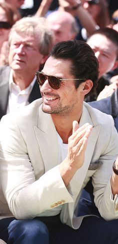 British model David Gandy on the front row at the Burberry Prorsum show in London