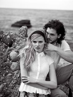 "Lara Stone & Kit Harington in ""A Fine Romance"" by Peter Lindbergh. Tabitha Simmons, March 2014"