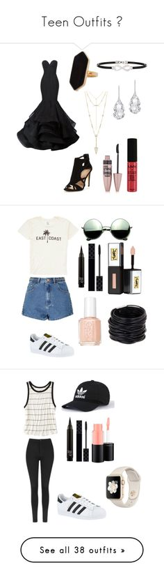 """Teen Outfits 🔥"" by shaycarrrr ❤ liked on Polyvore featuring Christian Siriano, Jaeger, Alor, Plukka, Maybelline, NYX, House of Harlow 1960, Billabong, Glamorous and adidas"