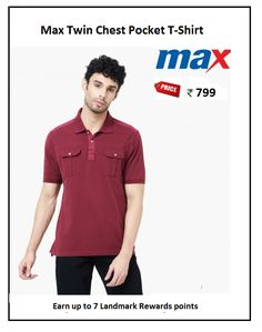 #Max #Twin #Chest #Pocket #T-Shirt #Design : Solid #Price: ₹799.00 #Fit : Regular #Style : Casual #Fabric : Cotton Polo Tees, Twins, Polo Ralph Lauren, Pocket, Fit, Casual, Fabric, Mens Tops, Cotton