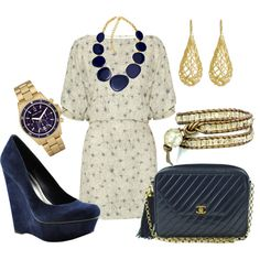 navy & gold - love everything about this esp. the chanel bag!