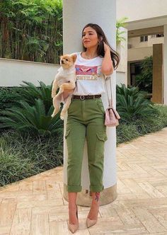 Jeans Cargo, Cargo Pants Outfit, Heels Outfits, Casual Outfits, Fashion Outfits, Womens Fashion, Formal Looks, Casual Looks, Street Outfit