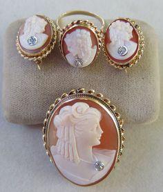 Vintage art deco 14k gold diamond habille cameo set~brooch/pendant~ring~earrings