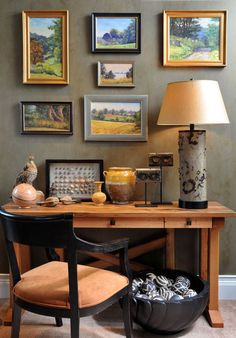 """This vignette was done by Robin Muto for a designer show house. """"It was a study for a male artist, so I wanted the room to be masculine and filled with interesting objects that he might have collected on his travels or just walks in nature,"""""""