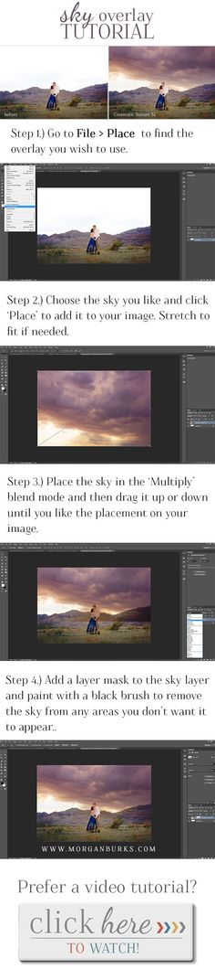 Easy to follow sky overlay tutorial! | Find more free tutorials at www.morganburks.com