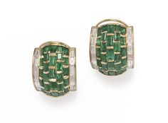 A pair of emerald, diamond and 18k gold earrings, Forley