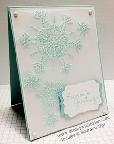 Northern Flurry Embossing Folder, More Merry Messages, Decorative Label Punch, Stampin' Up!, Christmas cards