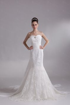 US $350.40   Taffeta Sweetheart Chapel Train Mermaid Embroidered Wedding Dress