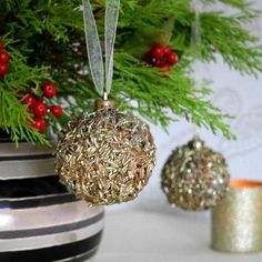 s 23 breathtaking ways to dress up a plain plastic or glass ornament, crafts, Make one shine using rice
