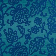 Modern Peacock Blue Floral Upholstery Fabric  by PopDecorFabrics