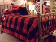 Ray Brook Frog, red buffalo plaid bedding.