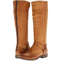 Frye Phillip Harness Tall Women's First Walker Shoes, Tan ($180) ❤ liked on Polyvore featuring shoes, boots, tan, tall harness boots, real leather boots, long boots, frye shoes and high boots