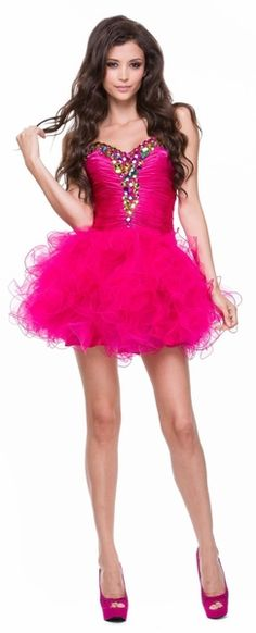 Poofy Skirt Homecoming Fuchsia Dress #discountdressshop #fuchsia #poofydress #homecoming #sweet16 #strapless #tulle