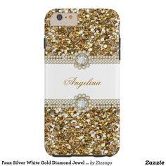 Faux Silver White Gold Diamond Jewel Glitter Tough iPhone 6 Plus Case
