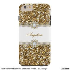 Faux Silver White Gold Diamond Jewel Glitter Tough iPhone 6 Plus Case