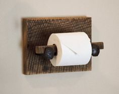 Barn Wood Toilet Paper Holder, rustic toilet paper hanger with railroad spikes Wood Toilet Paper Holder, Paper Holders, Tissue Holders, Rustic Towel Rack, Rustic Toilets, Bath Rack, Bathroom Toilets, Bathroom Vanities, Bathroom Organization