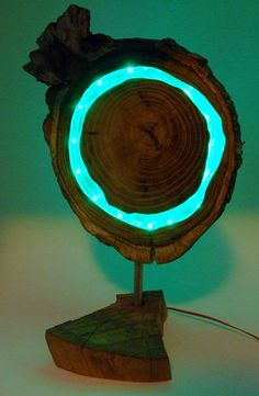 Wooden green LED lamp, Acaciawood with clear epoxy resin and green leds, for livingroom or office, modern, natural design