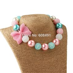 1Pc New Arrival Bow Jewelry Chunky Beads Necklace Little Girl Princess Bubblegum Necklace Kids Necklace for Party Dress Up * Details on product can be viewed by clicking the image