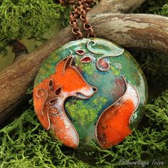 Pendant red fox forest keeper.  by Tsikorskaya on Etsy