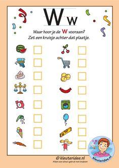 Pakket over de letter w blad 10, Waar hoor je de w vooraan letters aanbieden aan kleuters, kleuteridee, free printable k