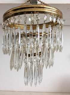 Vintage Chandelier- Three Tier Crystal Glass Chandelier - Pendant Lampshade - Chandelier Lampshade - Brass and Glass Chandelier