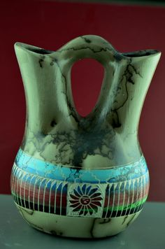 Navajo Wedding Vase with Sunface | Native American Wedding Vase | Navajo Wedding Vase