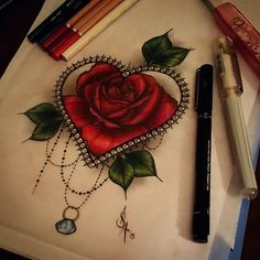 Heart and rose tattoo