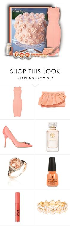 """Peachy!"" by sarahguo ❤ liked on Polyvore featuring Cushnie Et Ochs, Marie Turnor, Manolo Blahnik, Tory Burch, LE VIAN, Too Faced Cosmetics, claire's and Ben-Amun"
