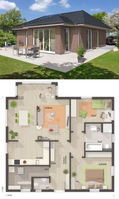 Bungalow house with hipped roof Architecture & clinker facade, floor plan 3 rooms with . Cabin House Plans, Dream House Plans, House Floor Plans, My Dream Home, Bungalow Haus Design, House Design, Town Country Haus, Double Storey House, Small Floor Plans