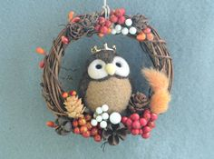 Needle felt owl dry flower wreath owl doll wreath by NozomiCrafts