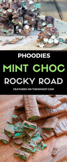 Everyone& loving this Mint Chocolate Chip Rocky Road Bars Recipe and you will too. You only need a few ingredients and it& no bake and easy to make. Xmas Food, Christmas Cooking, Christmas Desserts, Christmas Treats, Christmas Foods, Chocolate Lollies, Mint Chocolate Chips, Chocolate Chip Cookies, Homemade Chocolate
