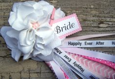 White and Pink Bridal Shower Corsage Bride To Be by BloomingParty, $12.00