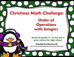 This activity will really put your students' knowledge of integers and order of operations to the test! The students will first use a decoder to determine the value of each letter in a particular Christmas / Winter related word. Then the students plug the values into a pre-made expression (which utilize all four number operations).