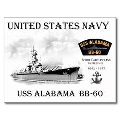Get your hands on a customizable Battleship postcard from Zazzle. Find a large selection of sizes and shapes for your postcard needs! Uss Alabama, Battle Ships, Mobile Alabama, Navy Ships, We Remember, Submarines, Home And Away, Military Aircraft, Weapons