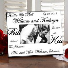 The Mr. and Mrs. Collection Frame is the perfect gift for the couple! You can personalize it with their formal first names, nicknames and new Mr. and Mrs. names!
