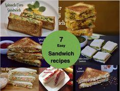 7 Easy & Best Veg Sandwich Recipes Indian Style - Indian Veggie Delight Simple Veg Sandwich Recipes, Easy Brunch Recipes, Healthy Sandwiches, Lunch Box Recipes, Breakfast Recipes, Healthy Lunches For Kids, Kids Meals, Chutney, Veggie Delight