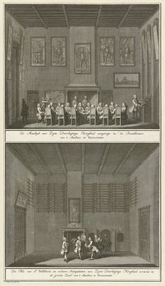 Jan Caspar Philips   Twee voorstellingen van de maaltijd en de bezichtiging van antiquiteiten in het stadhuis van Vlissingen, 1751, Jan Caspar Philips, 1753   Blad met twee voorstellingen. Onderaan het bezichtigen door de magistraat en de stadhouder van antiquiteiten (waaronder de fles van St. Willibrord) in het stadhuis. Bovenaan de maaltijd in de raadskamer van het stadhuis van Vlissingen. Onderdeel van de illustraties van de inhuldiging van Willem IV als erfheer van Vlissingen op 5 juni…